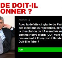 Le centre réclame la démission de Hollande. 93% des Français expriment leur accord