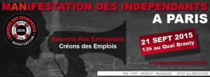 Tract pour la manifestation des indépendants le 21 septembre.