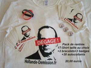 -1 T-shirt (taille au choix) -2 bracelets -3 badges  -30 autocollants